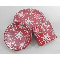 Snowflake Popディナー& Lunch Paper Plates with Beverage Napkins