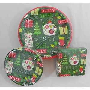 Happy Holidaysディナー& Lunch Paper Plates with Beverage Napkins