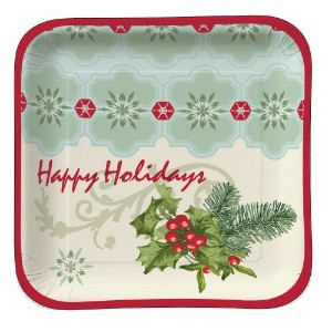 Creative Converting 4169098Count Hollyコラージュ正方形Paper Lunch Plates