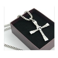 FAST and FURIOUS Dominic Toretto's Cross Pendant Necklace Vin Diesel Silver-like