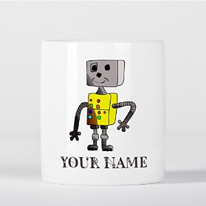 Customized Robot Yellow Grey Children Kids Personalised 貯金箱