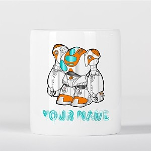 Customized Cool Futuristic Robot White Orange Children Kids Personalised 貯金箱
