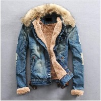New Winter Men S Jeans Jacket High Quality Fur Collar Wool Denim Casual Jacket With Thick Coat Size