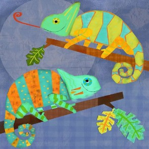 Oopsy daisy chameleon pals stretched canvas wall art by amy schimler, 14 by 14-inch by Oopsy Daisy