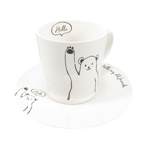 Cute BearカップマグHello My Old Friends(9オンス)and Saucer ( 2Piece )