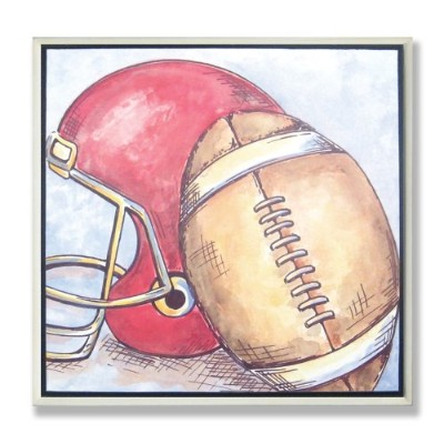 The Kids Room by Stupell Football and Helmet Square Wall Plaque by The Kids Room by Stupell