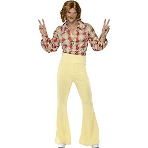 "Smiffys Men's Tan/Red 1960s Groovy Guy Costume - Chest 38""-40"", Leg Inseam 32.75"""