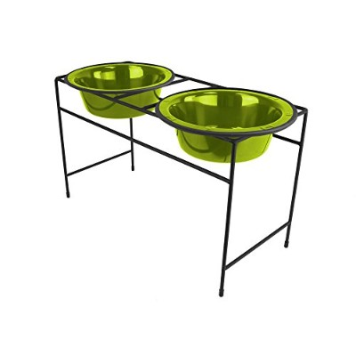 Platinum Pets Modern Double Diner Stand with Two 4 Cup Rimmed Bowls, Corona Lime by Platinum Pets
