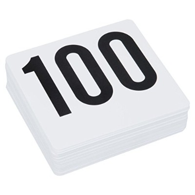Royal Industries Number 1-100 Plastic Number Card Set, Plastic, 4'' by 4'', White Base with Black...