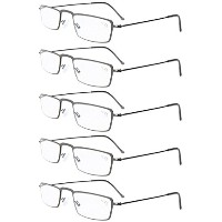 Eyekepper 5-Pack Stainless Steel Frame Half-eye Style Reading Glasses Readers Gunmetal +1.5 by...