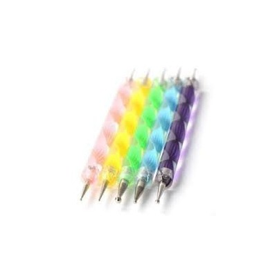 Set of 5 Multi Coloured Swirl Double Ended Nail Art Dotting/Marbleizing tools + 100 Lint Free Nail...
