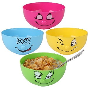 home-x Silly FaceプラスチックBowls。セットの4色