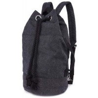 Zipper Drawstring Canvas Backpack