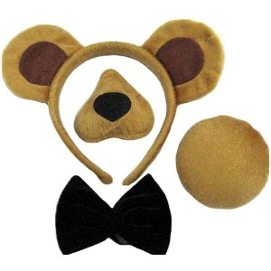 Bristol Novelty Brown Bear Sets Ears, Nose, Tail + Bow Tie. Instant Disguises - Men's - One Size