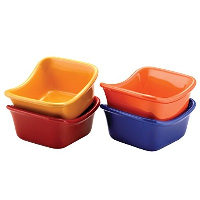 Rachael Ray Stoneware Lil' Saucy Set of 4 Square Dipping Cups, 3-Ounce, Assorted by Rachael Ray