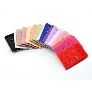 BOOLAVARD ® 12 pcs Assorted Colors Women 2-Hook 3 Rows Spacing Bra Extender Strap by Boolavard® TM....