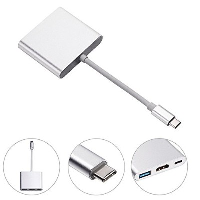 USB3.1 type C to HDMI+USB3.0+Type-C/F Google new Chromebook Pixel、Microsoft Lumia950、 MacBook(2015...