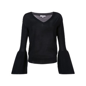 Dorothee Schumacher - bell sleeve V-neck sweater - women - バージンウール/スパンデックス - 4