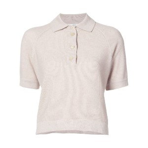 Oscar de la Renta - knitted polo top - women - シルク/カシミア - XL