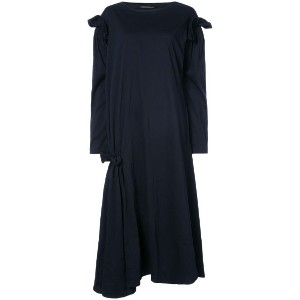 Yohji Yamamoto - gathered sleeve oversized dress - women - コットン/ポリエステル - 2