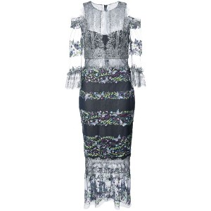 Marchesa Notte - butterfly embroidery fitted dress - women - ナイロン/金属化ポリエステル - 4