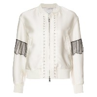 3.1 Phillip Lim - lace insert bomber jacket - women - シルク/ポリエステル/ビスコース - 4