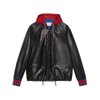 Gucci - Leather bomber jacket with nylon hood - men - ナッパレザー/ナイロン - 50