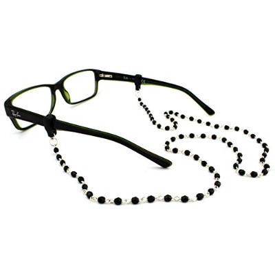 Peeper Keepers Czech Beads & Chains, Eyeglass Retainer, Black w/Silver Chain, 1pk, w/Cloth &...
