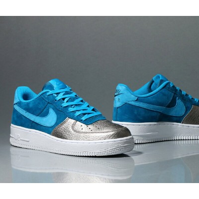 NIKE AIR FORCE 1 QS (GS)(ナイキ エア フォース 1 QS GS)(GREEN ABYSS/LIGHT BLUE LACQUER/METALLIC PEWTER/WHITE)...