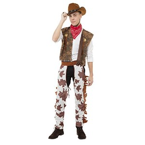 Bristol Novelty Brown/White Cowboy Costume & Cowprint Chaps Adult Costume - Men's - One Size