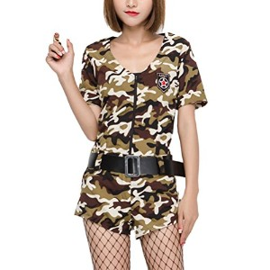 Zhhlaixing コスプレ仮装 Halloween Military Camouflage Uniforms Cosplay Temptation Nightclub Dress Stage...