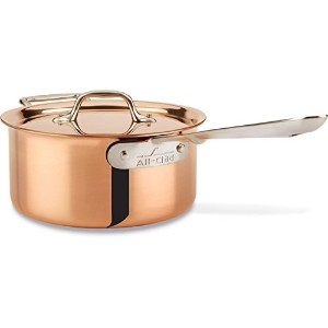 All-Clad CD203 C2 COPPER CLAD Sauce Pan with Lid with Bonded Copper Exterior Cookware, 3-Quart,...
