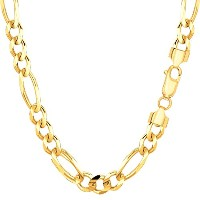 """10k Yellow Gold Royal Figaro Chain Necklace, 6.0mm, 22"""""""