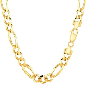 """14k Yellow Gold Classic Figaro Chain Necklace, 6.0mm, 24"""""""