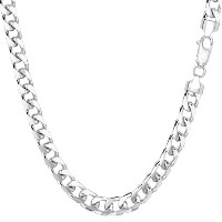 """14k White Gold Miami Cuban Link Chain Necklace - Width 5mm, 22"""""""