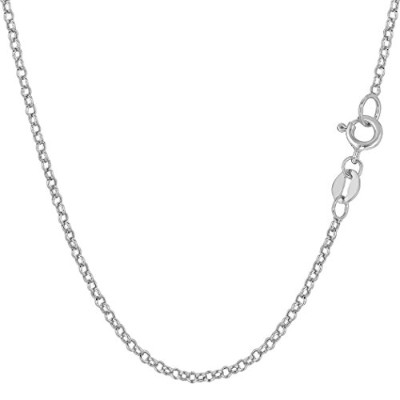 10k White Gold Round Rolo Link Chain Necklace, 1.9mm, 18""