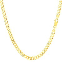 """10k Yellow Gold Comfort Curb Chain Necklace, 3.6mm, 18"""""""