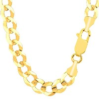 14k Yellow Gold Comfort Curb Chain Necklace, 10.0mm, 24""