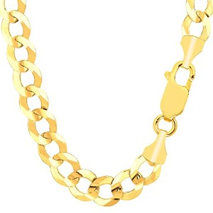 """14k Yellow Gold Comfort Curb Chain Necklace, 10.0mm, 22"""""""