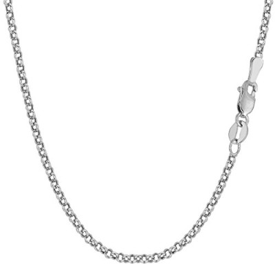 """14k White Gold Round Rolo Link Chain Necklace, 2.3mm, 18"""""""
