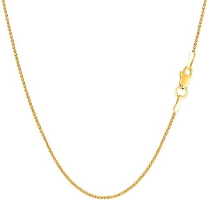 14k Yellow Gold Round Diamond Cut Wheat Chain Necklace, 1.0mm, 18""