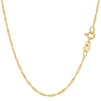 """14k Yellow Gold Singapore Chain Necklace, 1.5mm, 18"""""""