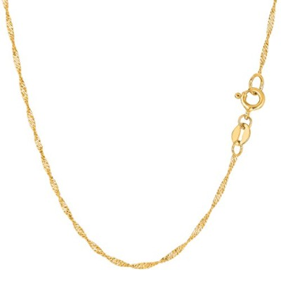 """14k Yellow Gold Singapore Chain Necklace, 1.5mm, 16"""""""