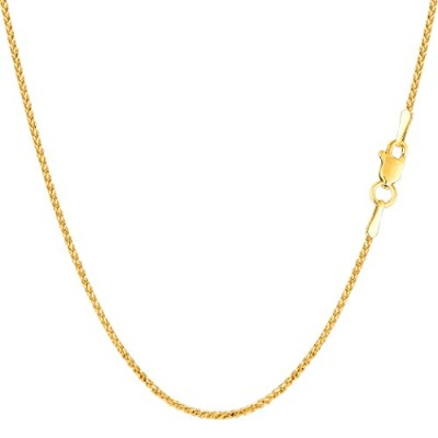 14k Yellow Gold Round Diamond Cut Wheat Chain Necklace, 1.15mm, 18""