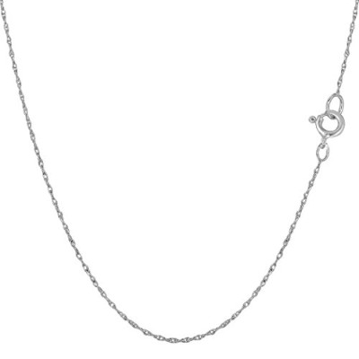 14k White Gold Rope Chain Necklace, 0.5mm, 18""