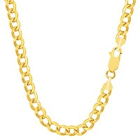 14k Yellow Gold Curb Hollow Chain Necklace, 3.6mm, 18""