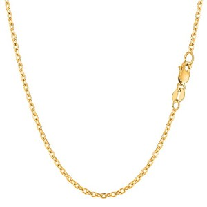 """14k Yellow Gold Cable Link Chain Necklace, 1.9mm, 16"""""""