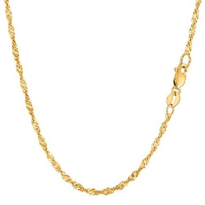 """14k Yellow Gold Singapore Chain Necklace, 2.1mm, 18"""""""
