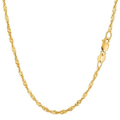 14k Yellow Gold Singapore Chain Necklace, 2.1mm, 20""