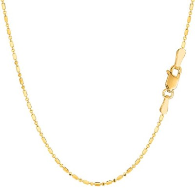 14k Yellow Gold Diamond Cut Bead Chain Necklace, 1.2mm, 20""